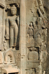 Buddha statues at Ajanta, famous cave temple complex of India