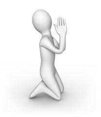 Personnage 3d faisant une prière