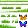 2 Butterflies And Green Grass Set