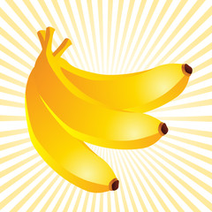 three bananas on yellow beams background