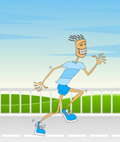 An attractive athletic man hurrying poster