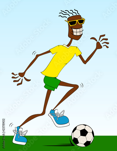 Cartoon athletic man with footb