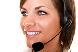 beautiful  customer service girl with headset poster