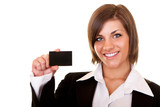 businesswoman showing a businesscard