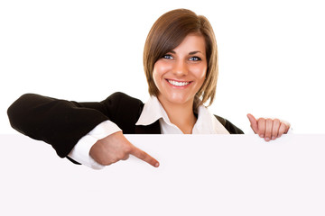 business woman holding big blank paper