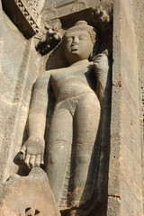 Buddha statue at Ajanta, famous cave temple complex of Southern