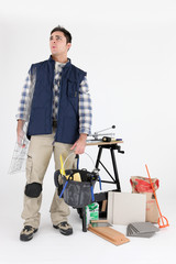 Carreleur avec matériel et accessoires