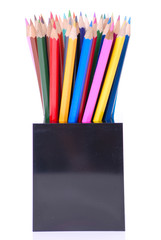 Coloured pencils in pot isolated