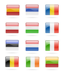 europe flags glossy buttons isolated vector