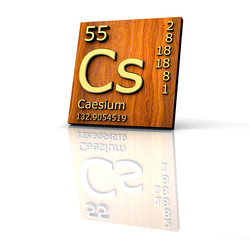 Caesium form Periodic Table of Elements - wood board
