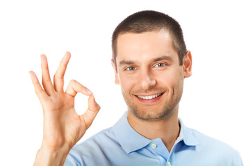 Portrait of happy gesturing man, isolated on white