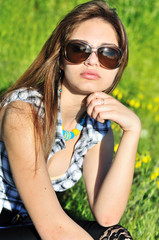 sensual girl wearing sunglasses