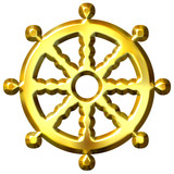 3D Golden Buddhism Symbol Wheel of Dharma poster