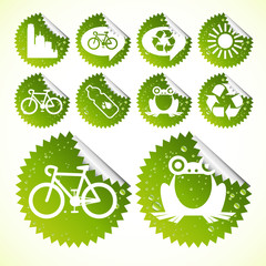 Glossy ecology eco icon set vector stickers