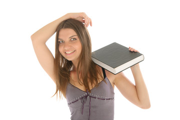 Young happy woman with book