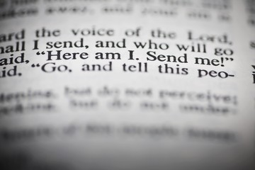 "Bible Open To Isaiah's Commission  ""Here I Am. Send Me!"""