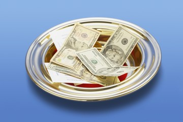 American Money In A Church Offering Plate
