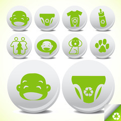 Green eco Baby friendly Icon set vector