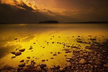 Alberta, Canada; A Lake At Dusk