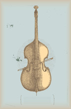 Double bass drawing - music instrument