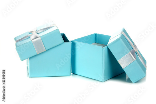 two open blue box