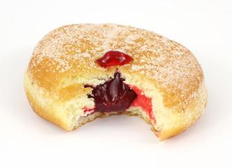 Bitten jam filled raspberry donut