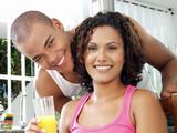 Latinos bebiendo jugo. poster