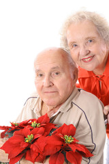 happy elderly couple smile
