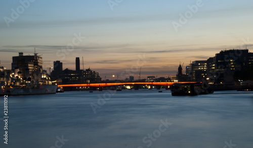 Thames river landscape at dusk, London