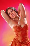 Littlr orange prom dress onstage poster