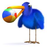 3d Blue bird gets beach ball stuck in beak poster