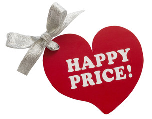 happy price tag in the shape of heart