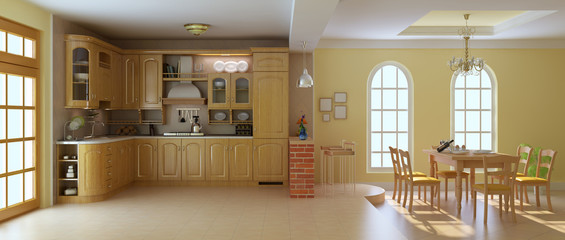 3d render classic luxury kitchen and dining room