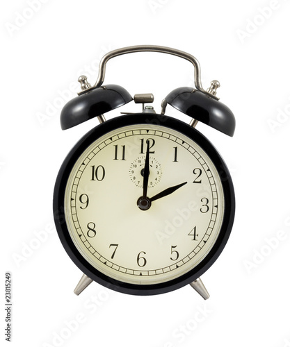 Retro alarm clock showing two hours