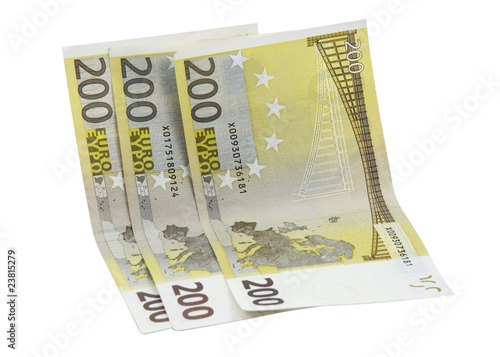 200 euro banknotes over white