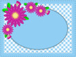 Vector Eps10 Oval Blue Copy Space Stitching, Zinnias, Polka Dots
