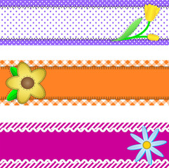 Vector Eps 10, Three Banners with Flowers and Copy Space