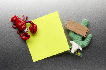 Lobster and cactus refrigerator magnets