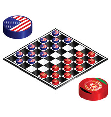 USA Afghanistan conflict played out on a checkers board