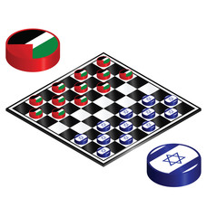 Israel Palestine conflict played out on a checkers board