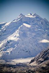 Snow, ice and mountains on the Tasman Glacier.