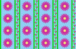 Vector Eps10 Blue Wallpaper with Pink Flowers and Green Stripes