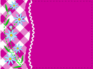 Vector Eps 8 Pink Copy Space with Gingham and Cornflowers