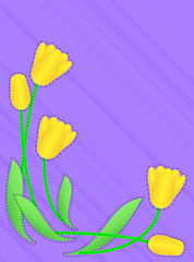Vector Eps 10 Purple Copy Space with Yellow Tulips