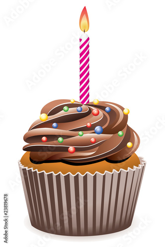 vector chocolate cupcake with burning candle