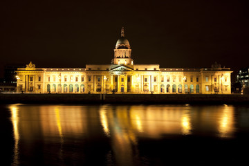 The southern facade of Customs House in Dublin, Ireland