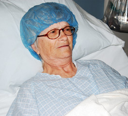 Woman lying in Pre-Op