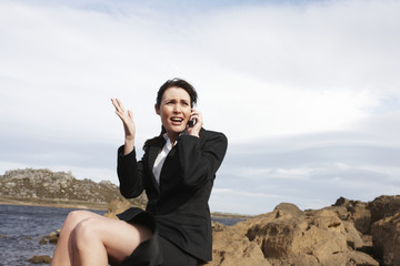 Woman speaking on a phone