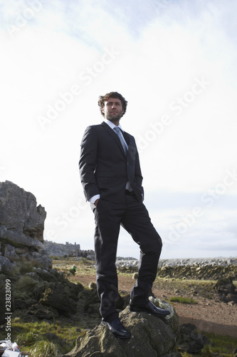 Businessman in the countryside