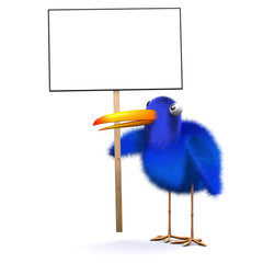 3d Blue bird holds placard